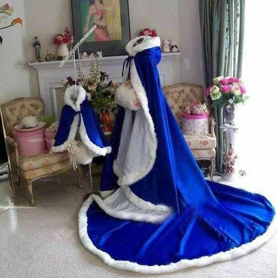 Colorful Custom Made Stunning Royal Blue Long Winter Bridal Capes Wedding Cloaks Faux Fur Winter Wedding Warm Bridal Cloaks
