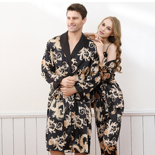 Imitation Silk Couples Pajamas Robes Sets With Dragons Pattern Chinese Style Drop Shipping