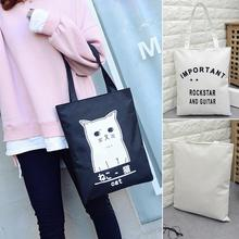 Women Handbags Canvas Tote bags Reusable Cotton grocery Shopping Bag Webshop Eco Foldable Shopping bag Random pattern(China)