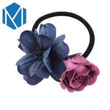 M MISM Girls Fashion Floral Bow Elastic Hair Band High Quality Scrunchy Ponytail Flower Gum For Hair Accessoories for Women(China)