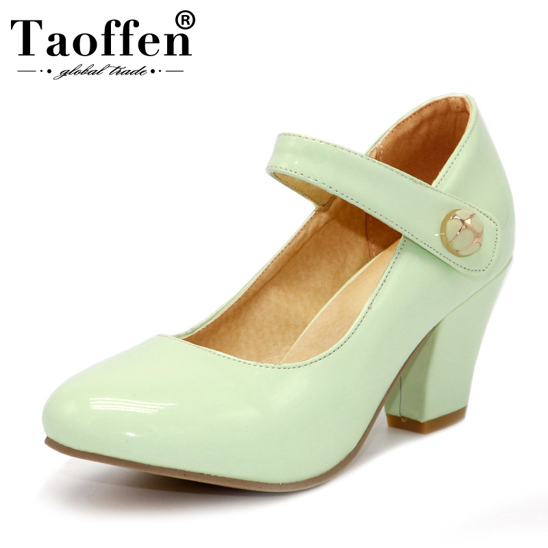 a190f9fba4a TAOFFEN 8 Colors Size 32-48 Lady High Heels Pumps Round Toe Patent Leather  Thick