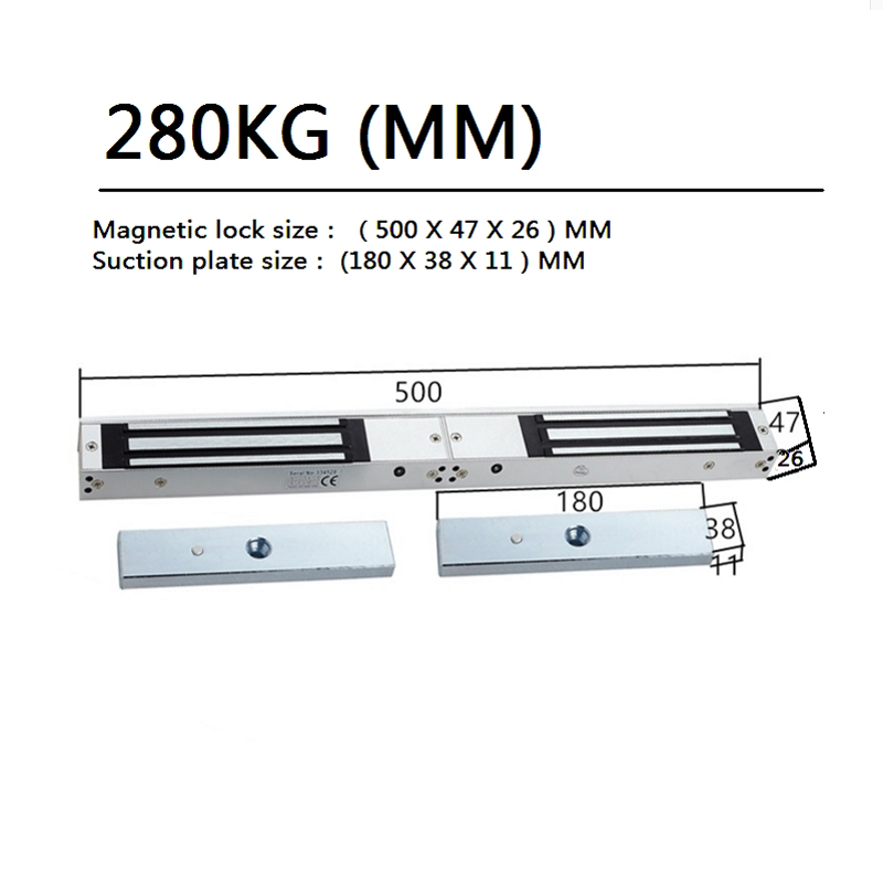 280kg/380kg  two-door magnetic lock with Mounting bracket wooden door magnetic lock Two-door electric suction lock <br>