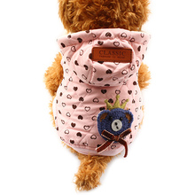 Armi store Love Pattern Dog Coat Winter Warm Pink Hat Dogs Coats Jackets 6141016 Pet Clothes Supplies(China)
