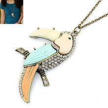Brand Bijoux Fashion Vintage Chain Collar Imitated Gemstone Jewelry Parrot Long Necklaces Pendants for Statement Women Men 2017