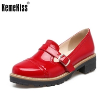 New Shoes Woman Candy Colors Platform Women Oxfords British Style Flat Casual Buckle Fashion Slip-on Women Shoes Size 32-43(China)