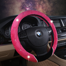 Pink Car Steering Wheel Cover for girls Short Plush with Crystal Rhinestone Steering-Wheels Case Auto Interior Accessories