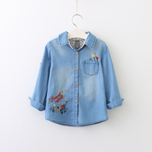 2017 Baby Girls Denim Shirts Kids Girls Embroidery Wash Blue Blouse Babies Autumn Tops Childrens clothing