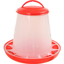 1Pc Red  1.5kg Plastic Feeder Baby Chicken Chicks Hen Poultry Feeder Lid & Handle