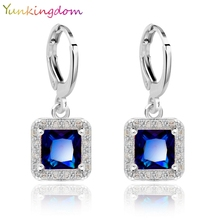 Yunkingdom Square Earings White Gold color synthetic gemstone Drop earrings for Girls wedding Jewelry 5 Colors(China)