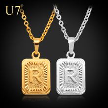 U7 Gold Plated Fashion Jewelry Factory Wholesale Women/Men Gift Trendy R Letter Pendant Necklaces P410