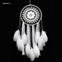 creative white feather big dream catcher indian lace net decor ganpati home hall decoration ideas home dreamcatcher pendent(China)