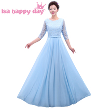 half sleeve light blue ladies clothing party tops long dress evening dresses unique bows 2016 for woman with sleeves H3765