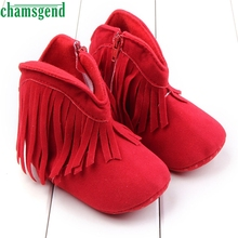 CHAMSGEND Best Seller  baby shoes cute autumn winter  color fringekids Baby Snow Boots Soft Sole Prewalker Crib Shoes S35