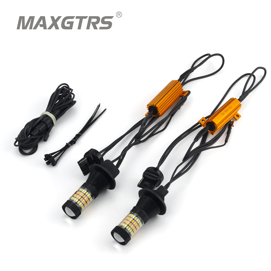 2x T20 7440 W21W 96 SMD 3014 Car Led Light Daytime Running Light+Turn Signal Dual Mode Canbus DRL LED Fog External Lights<br><br>Aliexpress