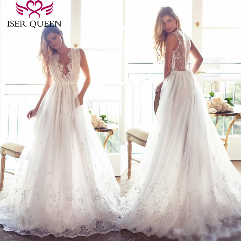 Illusion Back Mid East Fashion A line Wedding Dresses Embroidery Sequin Lace Vintage Wedding Gown Bridal Formal Dresses W0250