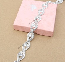 1 yard/pack 1.6cm fashion twist 8-shape clear crystal rhinestone chain bridal wedding dress decoration trims garment accessory