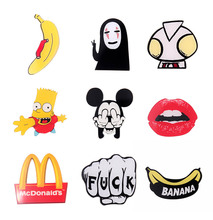 Japan Harajuku Acrylic Brooch Pin Ultraman Banana Chips Scrawl Sexy Lips Simpson Fashion Jewelry Accessory 2016