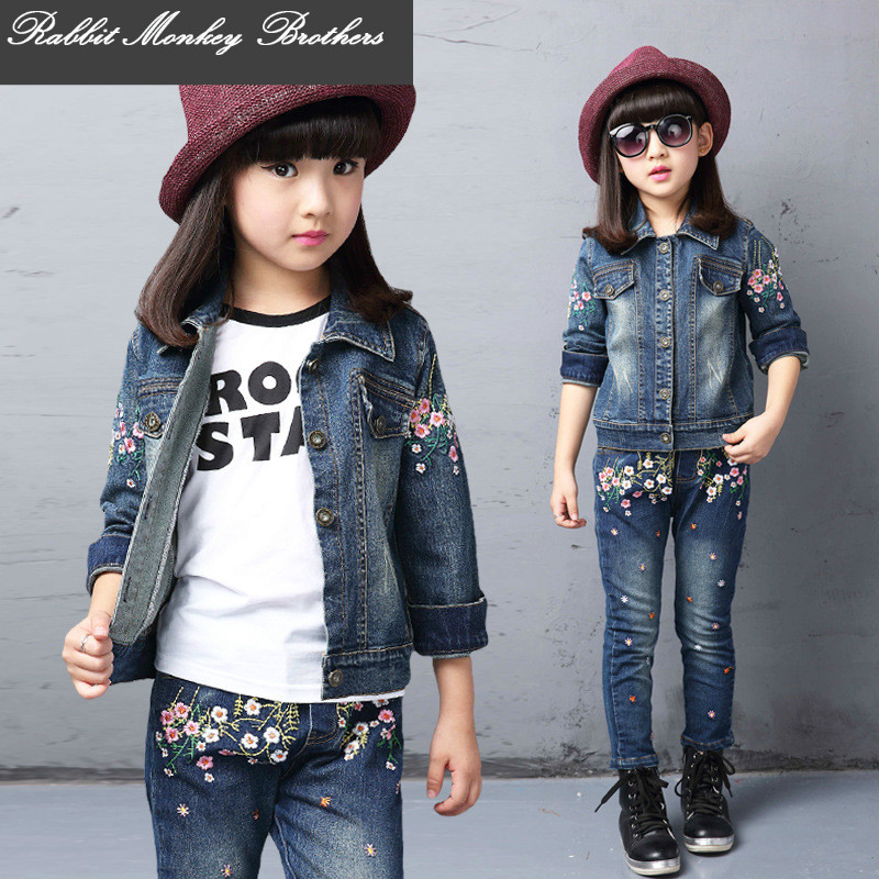 Spring fall Style Girls flower children clothing set Denim jacket + Jean pant 2 piece set For Kids Wear to 2 4 6 8 10 12 Year<br>