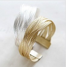 Fashion Jewelry Wholesale Alloy Gold/Silver Color Twisted Metal Rattan Women Wide Bracelet&Bangles Adjustable