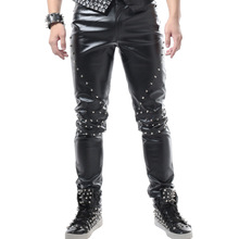 Casual leather pants Slim micro-pants men's leather pants punk wind rivets tide pants stage DS singer costumes clothes