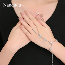 Nandudu High Quality Luxury Zircon Palm Bracelet Bangle Connected Finger Ring Flower Palm Bangles Handlets Jewelry Gift R1961(China)