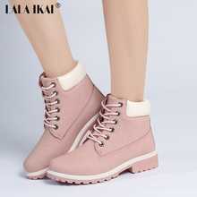 LALA IKAI 2017 Pink Nubuck Leather Women Boots Lace up Casual Ankle Boots Martin Round Toe Shoes Timber Boots 40N1120-2.5