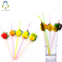 50pcs/lot 3D Fruit Drinking Straw Party Straw Plastic Cocktail Straw Hawaiian Party Decoration Party Favor Supplies GYH(China)