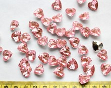 800pcs Bling Rhinestone Heart Gem Cabochon Faceted 12mm light pink for Flower center, dress accessories-YZ0051a(China)