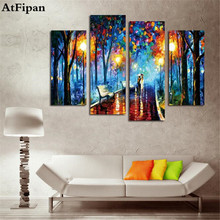 AtFipan New Free Shipping 4 Panel Night Scenery Crafts Sale Embroidery Fashion Painting Decorative Embroider Rain Lovers Picture