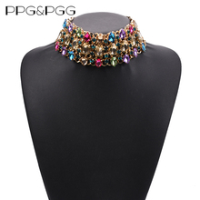PPG&PGG Big Rhinestone Choker 2017 Bib Statement Necklace Crystal Luxury Chunky Collar Maxi jewelry(China)