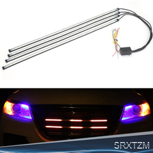SRXTZM 2/4 in 1 Car Styling 12V Led Strobe Warning Light 4 Modes Grille Flashing DRL Driving LED Strip Daytime Running Light