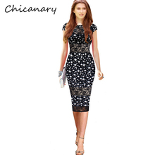 Chicanary Sexy Lace Hollow Out Printing Star Party Wear For Women Casual Knee Length Office Business Bodycon Lady Dresses