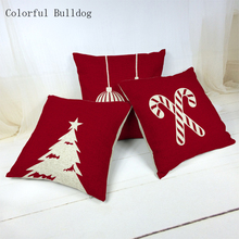 Christmas Red Picture Cotton Almofadas 45Cmx45Cm Square Cushion Cover Home Decor Pillow Case Decorating 1 Side Printing Fundas(China)