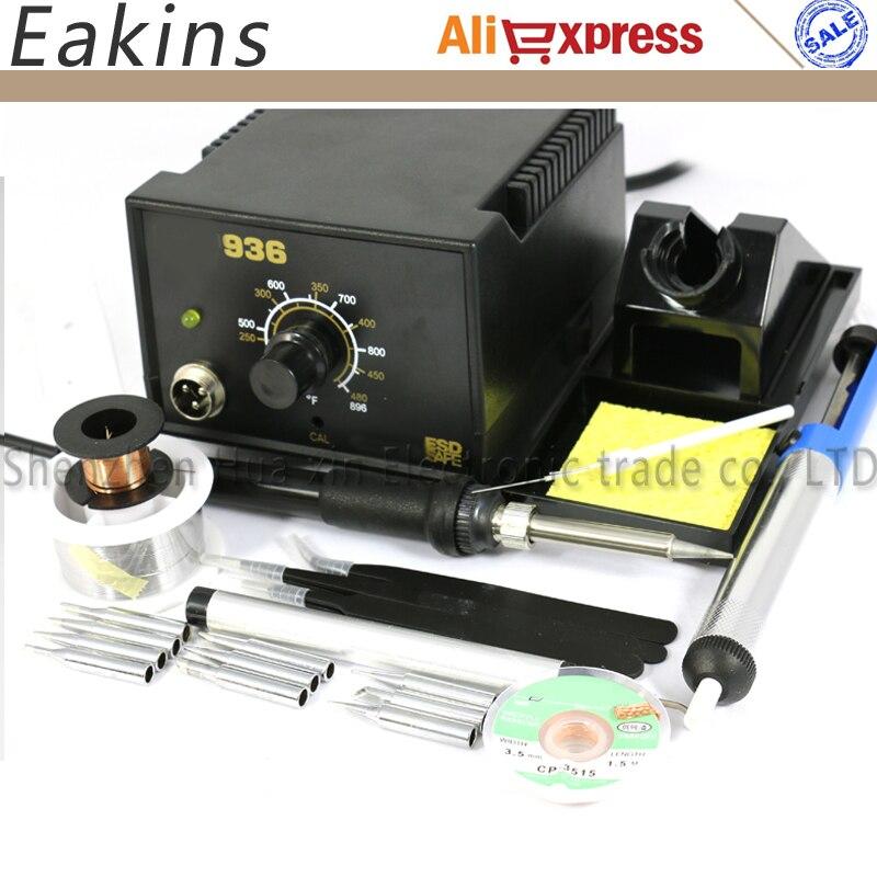 FRee shipping Adjustable temperature Soldering Station 936 kits 220V 60W+8 kind Welding Accessories 220V EU Plug<br>