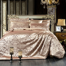 High Quality Satin Silk Bedding Set 4Pcs Set Duvet Cover+Sheet+2 Pillow Cases Size King Queen Cotton Jacquard Wedding Bed Sets