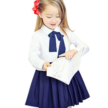 Classical Girls Children School Uniform Dresses Toddler Kids Long Sleeve Dress