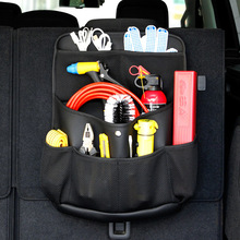 Car Trunk Hanging Storage Bag PU Leather Net Auto Backseat Tool Organizers High Capacity Travel Storage For SUV MPV Universal(China)