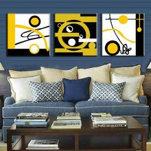 3 Pcs/set Abstract Sports Figures Canvas Wall Art Modern Yellow White in Black Blocks of Color and Circle Paint Wall Picture
