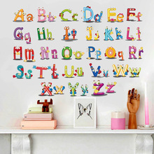 Puzzle Early Education Paste 26 English Alphabet Wall Stickers For Kids Rooms Cartoon Art bedroom Wall Background Decal(China)