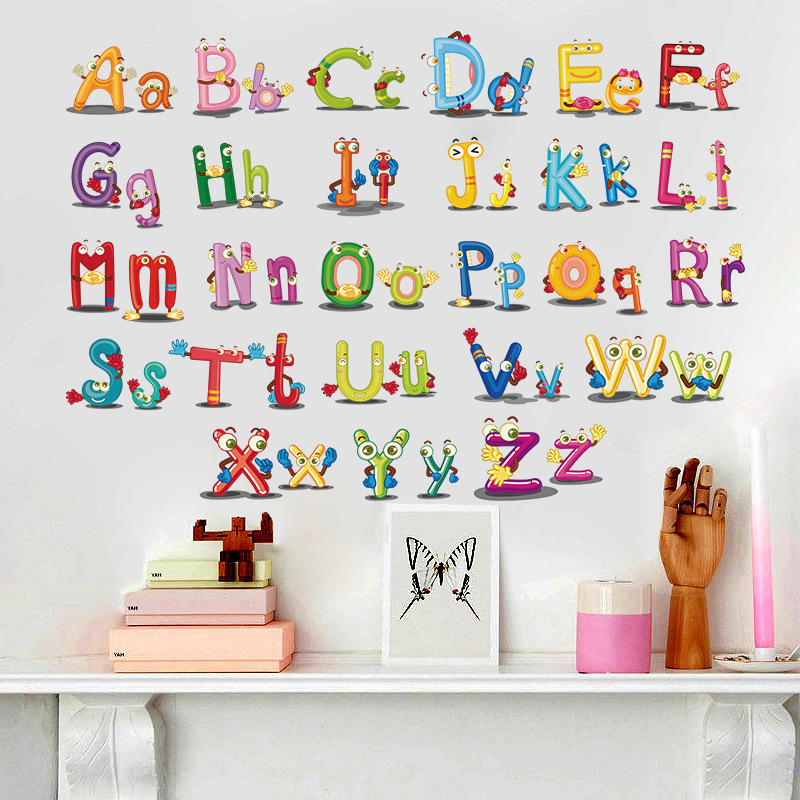 Puzzle Early Education Paste 26 English Alphabet Wall Stickers For Kids  Rooms Cartoon Art Bedroom Wall Part 79