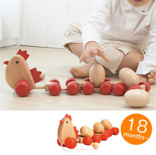 Wooden Chicken Car Animal Tractors Laying Eggs Shape Kids Baby Puzzle Early Childhood Educational Diecasts Toys Vehicles(China)