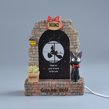 Studio Ghibli Kiki's Delivery Service Resin Action Figure Decor Kids Toys Black Cat JiJi Led Night Light Miyazaki Hayao Figuras(China)