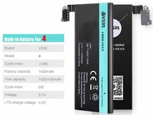 for iPhone4 battery  1420mAh for iphone 4 Li-ion polymer  Batteries+Opening Tool Kit Vsin Brand 0 cyle high quality