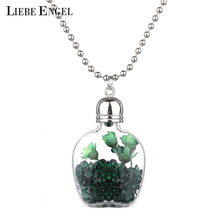 LIEBE ENGEL Newest Glass Bottle Silver Color Jewelry Women Fashion Pendant Necklace Fantasy Dried Flower Necklace Ball Chain