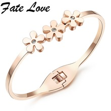 Fate Love Multiple Flowers Daisy Rose Gold Color Stainless Steel Clear CZ Cuff Bracelets Bangles Women Best Birthday Gift FL838
