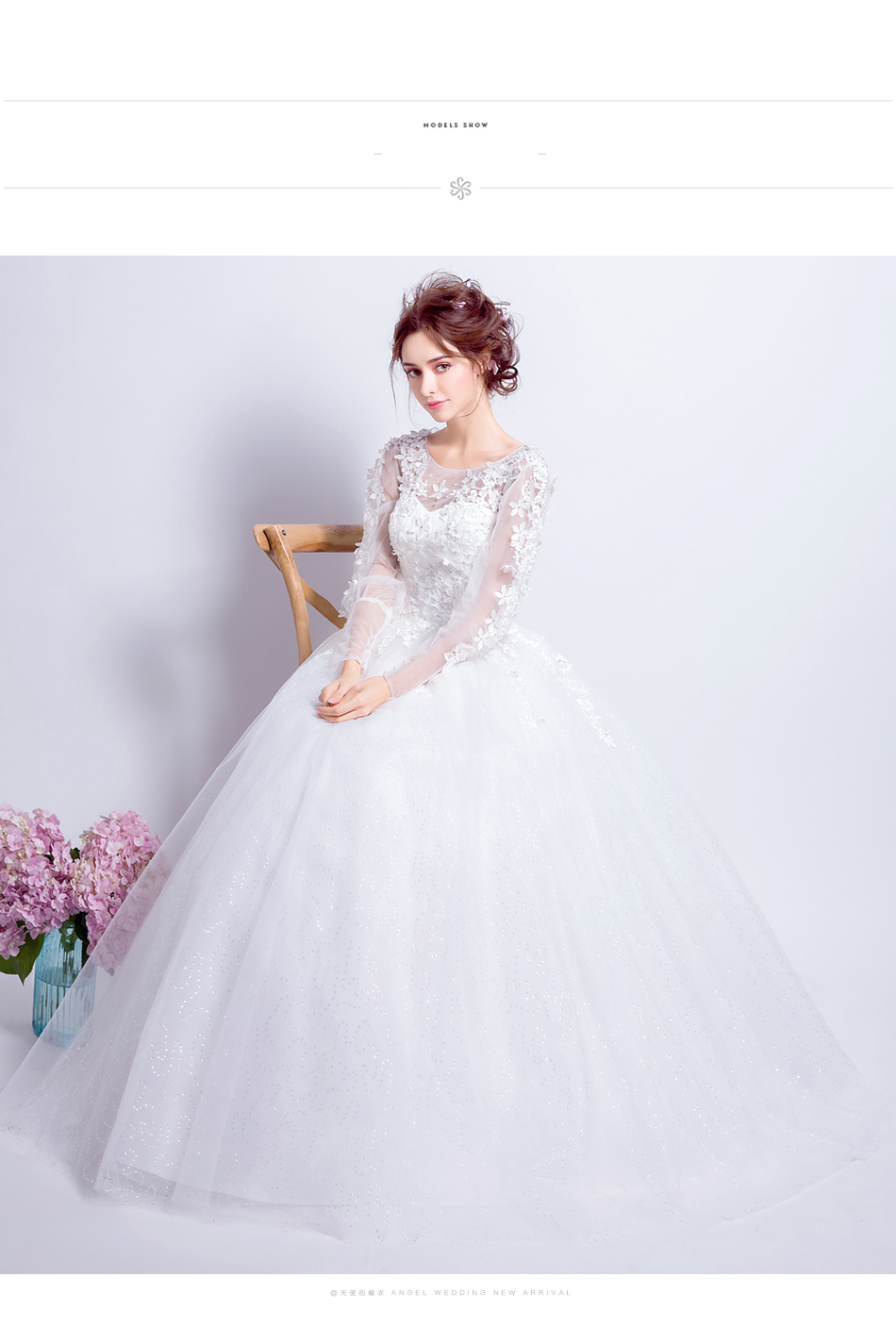 Angel Wedding Dress Marriage Bride Bridal Gown Vestido De Noiva 2017 Sweet, lace, flowers, long sleeves, 6011 9