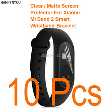 10pcs For Xiaomi Mi Band 2 Smart Watch Clear Glossy/Anti-Glare Matte Screen Protector Protective Film Guard (Not Tempered Glass)