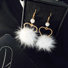 Lovely girl heart lovely hair bulb pearl earring no ear pierced ear women adorn article Popular fur ball Soft