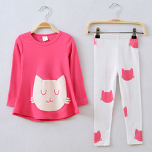 Girls Clothing Sets 2017 Cat Cute Toddler Kids Clothes Suits Spring Autumn Cheap Infant Children's Clothing for Girls