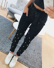 Buy Pearls Women Pants Pencil Black Elastic Waist Tie Bow Casual Spring 2018 Girl Clothes Trousers WS6403Z for $14.82 in AliExpress store